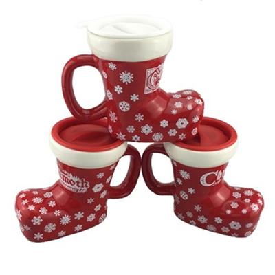 12 oz Boot Shaped Ceramic Christmas Mug