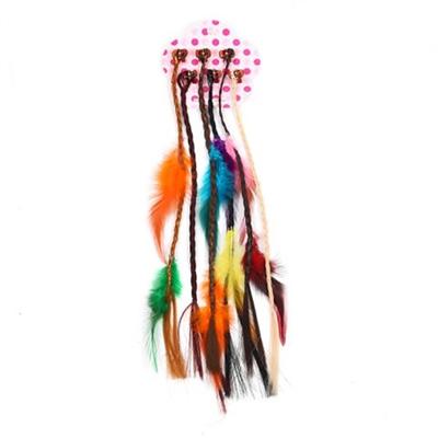 Braided Faux Hair and Feather Hair Clip
