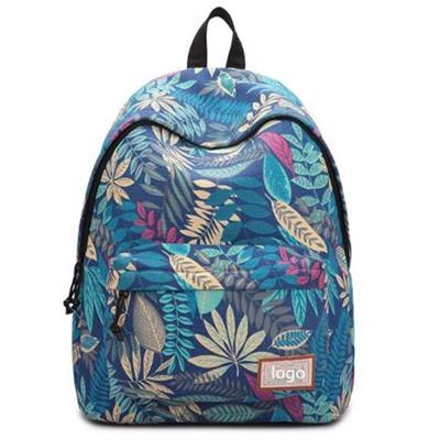 Leaf Print College Canvas Backpack