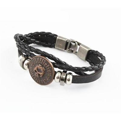 Leather Alloy Bracelet With Engrave Logo