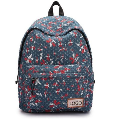 Navy and red Print backpack bag