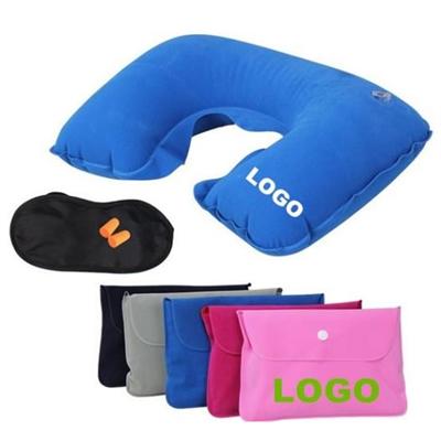 Neck pillow and eyeshade travel set
