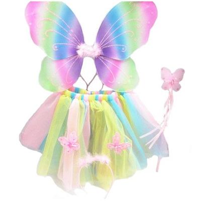 Rainbow Fairy Butterfly Wings Tutu Dress Headband Wand