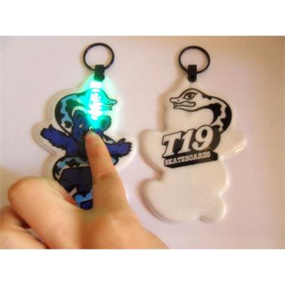 Soft plastic PVC keychain with LED light, keylight