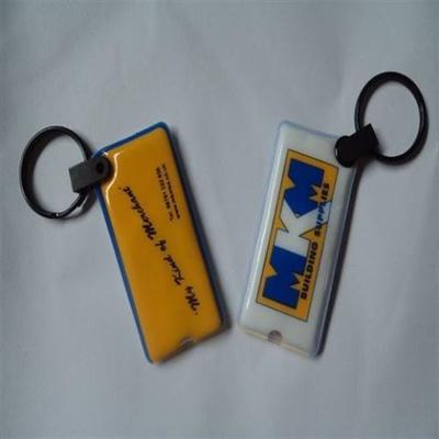 Soft plastic rectangular  PVC keychain with LED light, keyli