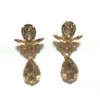 Teardrop Gold Tone CZ Dangle Earrings