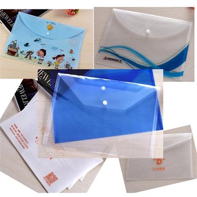 Translucent PVC HandBag snap button Envelope File Bag